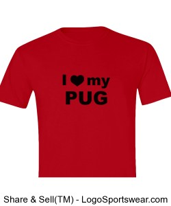Red I Love My Pug Shirt (Youth) Design Zoom